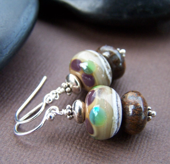 Overlook Earrings - Lampwork Glass Stone with Sterling Silver