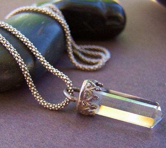 Fancy Lace Vintage Crystal Quartz Sterling Silver Pendant Necklace
