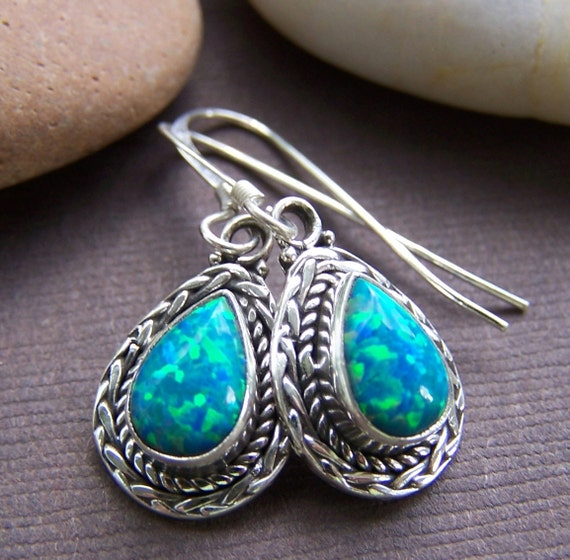 Siren of the Sea - Earrings Fire Opal Petite Sterling Silver Earrings