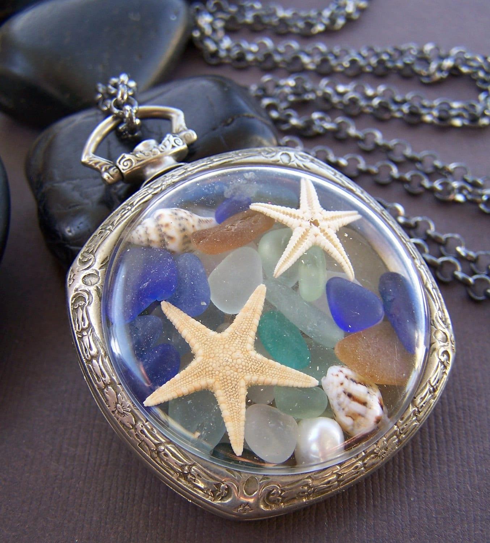 Bounty Sea Glass Locket Vintage Pocket Watch Case With Sea