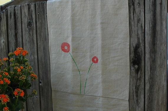 Odette's Kitchen Towel linen, orange, flower hand sewn
