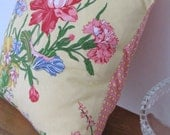 Retro Floral Cushion Yellows Pinks