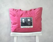 Canvas Bag - He Had Me at Hello Tote Bag- Vintage Photo on a Flamingo LARGE Cotton Canvas