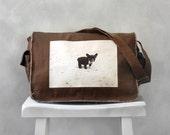 Messenger Bag - French Bulldog - School Bag - Java Brown - Canvas Bag