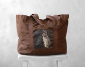 Canvas Bag - Woodland Bunny Photograph - Large Tote - Weekender  - Mademoiselle Lapina
