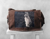Messenger Bag - Woodland Bunny Photograph - Java Brown Canvas Bag - Mademoiselle Lapina - School Bag