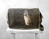 Messenger Bag - Woodland Bunny Photograph - Khaki Green Canvas Bag - Mademoiselle Lapina - School Bag