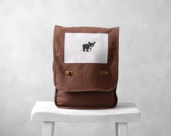 Baby French Bulldog - Messenger Bag - Vintage Photograph - Canvas Field Bag - Java Brown