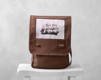 Field Bag / Messenger Bag - The Volage - Vintage Photograph - Java Brown - Canvas Bag - Historic Ship - Nautical