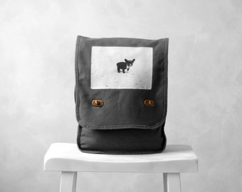 Field Bag - French Bulldog - Messenger Bag - Vintage Photograph - Cotton Canvas Bag - School Bag - Smoke Gray
