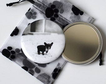"Baby French Bulldog - Pocket Mirror - 2.25"" with Pouch"