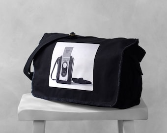Messenger Bag - The Argoflex - Vintage Camera Photograph - School Bag - Canvas Bag