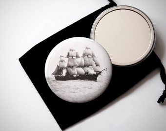 "The Volage in the Boston Harbor  - Pocket Mirror - 2.25"" with Organza Pouch  - Vintage Photograph by Nathaniel Stebbins"