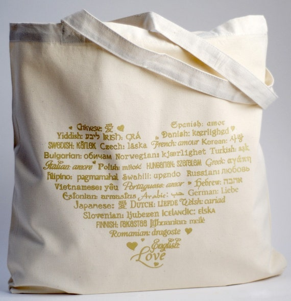 LOVE Languages - Tote Bag - Gold on Natural - Cotton Canvas
