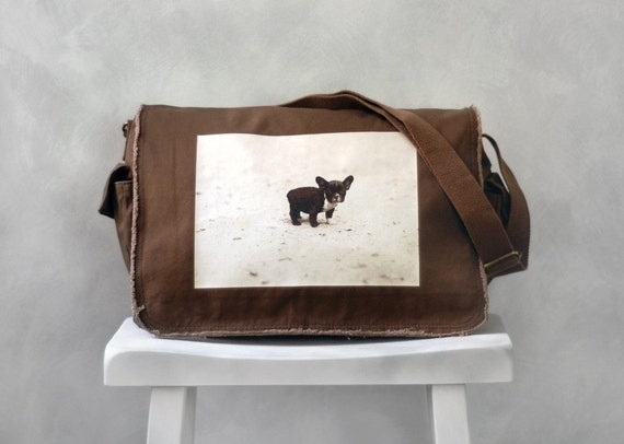 Messenger Bag - French Bulldog - School Bag - Java Brown - Canvas Bag