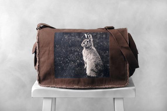 Messenger Bag - Woodland Bunny Photograph - Java Brown Canvas Bag - Mademoiselle Lapina - School Bag