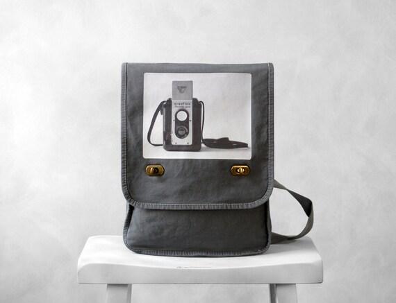 Messenger Bag - The Argoflex  - Field Bag - School Bag - Smoke Gray - Canvas Bag
