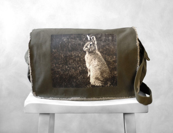 Messenger Bag - Woodland Bunny Photograph - Khaki Green Canvas Bag - Mademoiselle Lapina - School Bag