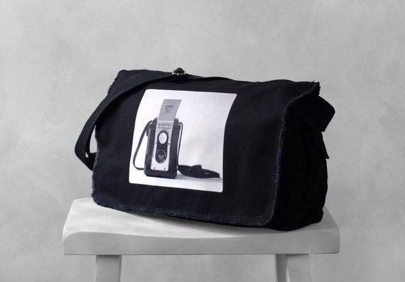 Messenger Bag - The Argoflex - Vintage Camera Photograph - School Bag - Canvas Bag