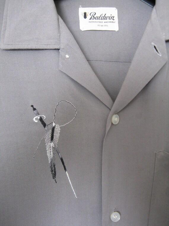Vintage 50's Fifties Mens Rayon Atomic Stitched Shirt Size Medium Hepcat VLV