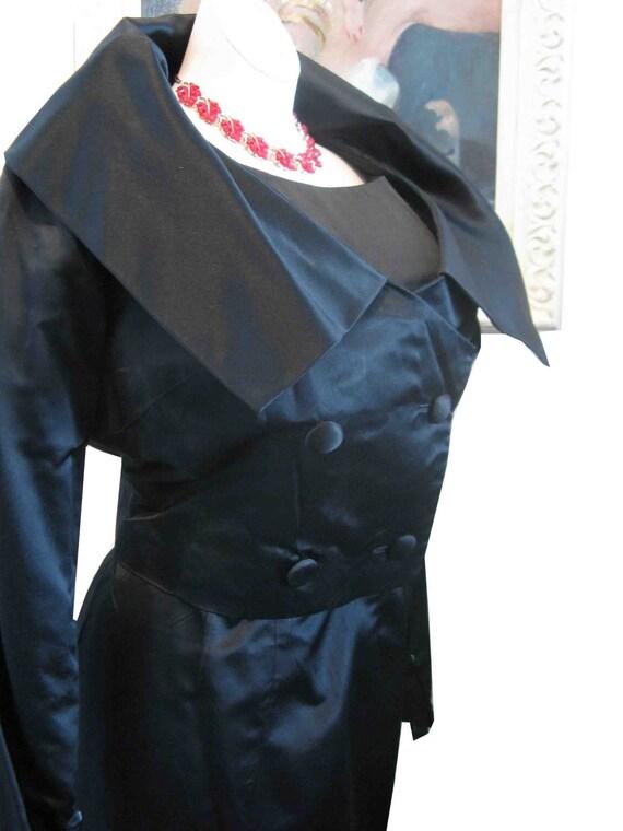 Curves Ahead 1950's Black Satin Wiggle Dress w Jacket Movie Star Bad Girl Appeal