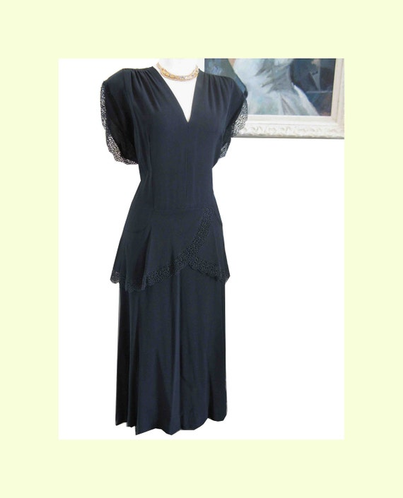 ON HOLD - Vintage Forties 1940's Art Deco Influenced Dress with Peplum Larger Size  40-34-44