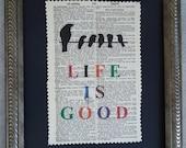 Dictionary Print Vintage Life is Good 8 x 10 Mixed Media Black Birds