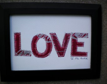 Wedding Anniversary - LOVE - 5 X 7   COKE Soda Pop Can Letter Collage -  Mixed Media -   Recycled Aluminum