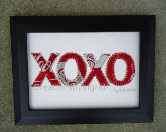 Hugs and Kisses -  Soda Can Art-  XOXO -  Coke - Soda Can Art -  5 x 7 Original Collage-  Eco Friendly