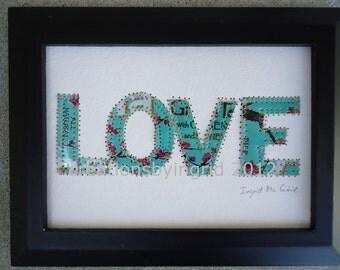 Wedding Anniversary - Arizona Tea Can Art -  LOVE - Letter Collage - Mixed Media -  Inspirational original 5 x 7