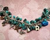 SALE  Sports Bracelet Charm Bracelet Gemstone Bracelet Beaded Bracelet