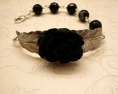 Black Rose Leaf Onyx Bracelet            FREE SHIPPING