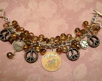 Charm Peace Glass Swirled Beads Bracelet    FREE SHIPPING