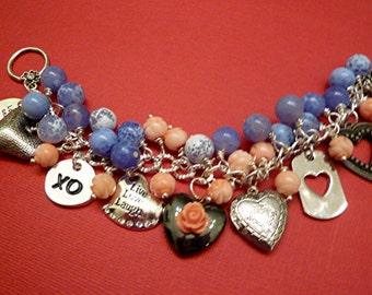 Beaded Charm Heart Love Themed Flowers Blue Peach Charm Bracelet