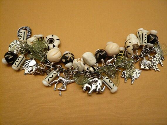 Bone Safari Jungle Ethnic Wood Turquoise Charm Bracelet      FREE SHIPPING