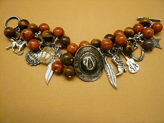 Western Cowboy Rodeo Jade Charm Bracelet      FREE SHIPPING