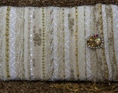 Evening Gold Purse with Vintage Czech Button - Hand Woven
