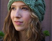 Hand Knitted Moss Green Acrylic/Wool Blend Cabled Winter Hat