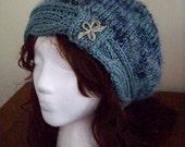 Silk and Mohair Blue Winter Hat - Hand Knitted