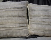 Set of 2 White and Silver Hand Woven Pillows