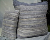 Gray and Silver Pillow Set - Hand Woven
