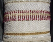 Retro White, Gold and Pink Hand Woven Pillow