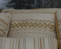 White and Gold Pillow  with Diamond Beaded Pattern