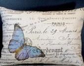 Lumbar Pillow 12 by 16 Inches Blue Butterfly in Paris