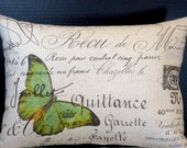 Lumbar Pillow 12 by 16 Inches Green Butterfly in Paris