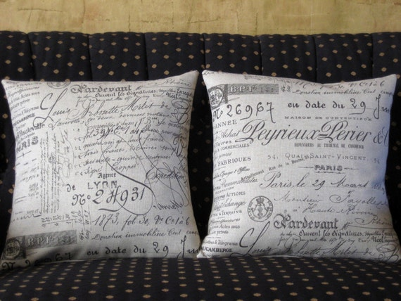 18 Inch Pair of Paris Document Pillow Covers