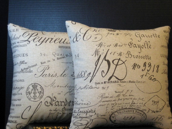 Pillows Pair of 14 by 14 Inch Paris Document French Script