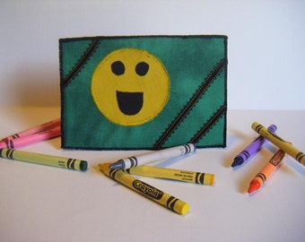 Fabric Postcard, Smiley Face, Smilie Face, Smile, Green, Yellow, Black, Ribbon, Applique, Embroidery. Handmade Items by CooperStudios.