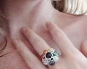 Sacred Geometry Chakra Ring, Multi-Gem, Earth Rocks..... for Multi-Chakra Work