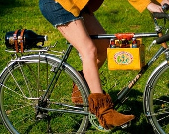 "Bike Beer Holder - The ""6-Pack Frame Cinch"" - Leather Bicycle Beer Carrier"